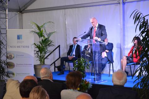 Inauguration des installations de l'OIEau - Alain ROUSSET, Président de la région Nouvelle-Aquitaine, lors du discours inaugural